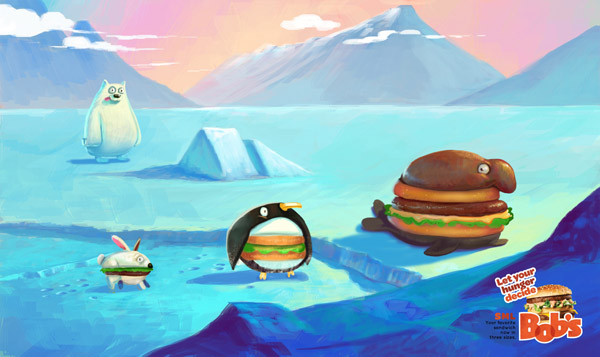 Bob's汉堡趣味插画广告