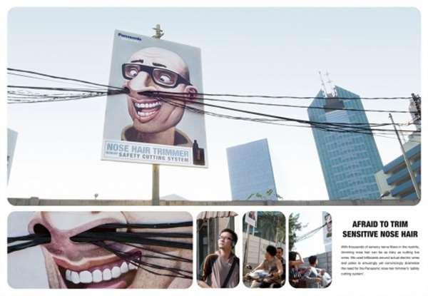 国外创意户外广告鼻子里的电线