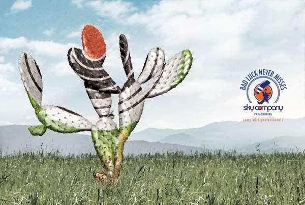 跳伞公司sky company的创意广告,尖锐的牛角,仙人掌的尖刺,骑士雕塑上