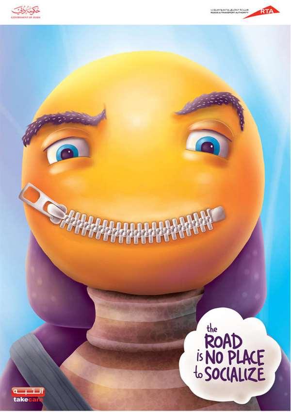 请勿与司机交谈-交通安全广告创意