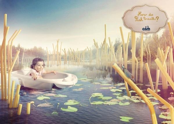 婴儿用品Cam平面创意广告:孩子眼睛中的童话世界
