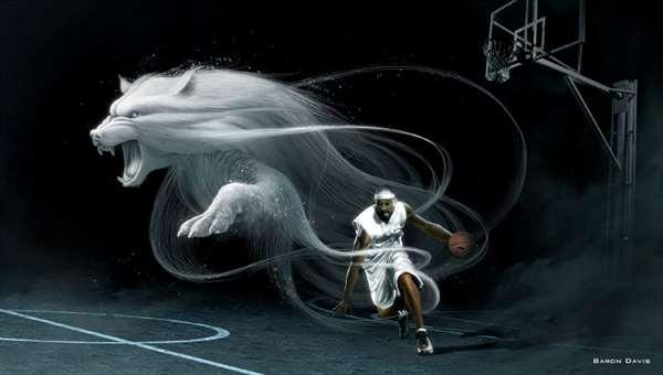 狼篮球球星的广告设计